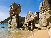 Anapai Beach sea stacks, Abel Tasman National Park, South Island, New Zealand