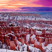 Sunrise over snow blanketed hoodoos, Bryce Canyon National Park, Utah