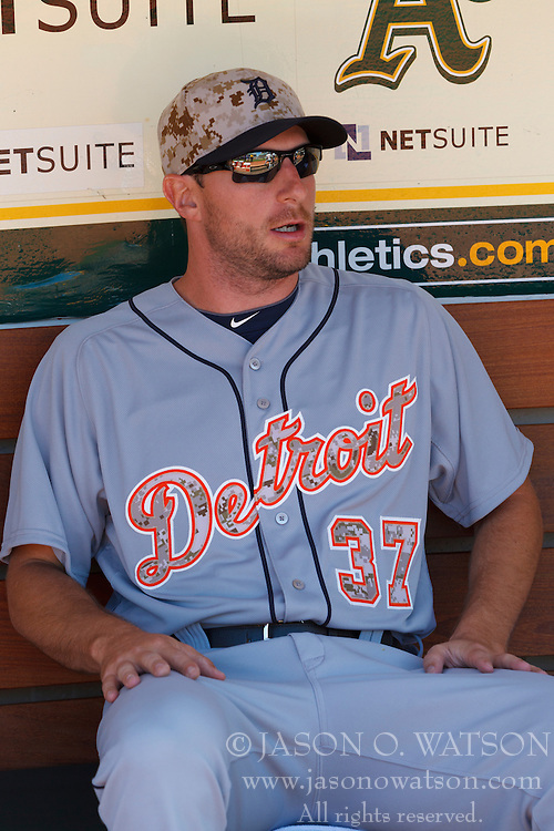 OAKLAND, CA - MAY 26:  Max Scherzer #37 of the Detroit Tigers sits in the dugout before the game against the Oakland Athletics at O.co Coliseum on May 26, 2014 in Oakland, California. The Oakland Athletics defeated the Detroit Tigers 10-0.  (Photo by Jason O. Watson/Getty Images) *** Local Caption *** Max Scherzer