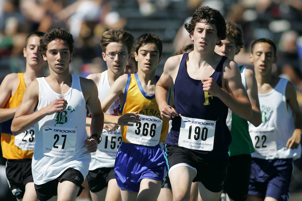 Jason Laporta and Michael Pesce and Steven Hosier competing in the 3000m at the 2007 Ontario Legion Track and Field Championships. The event was held in Ottawa on July 20 and 21.