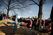 On April 26 - 2011.25 years after the Chernobyl disaster people are still suffering from the long term consequences of a nuclear meltdown. Countries affected struggle with cronic illness, contaminated food - For many their life ended with Chernobyl...<br /> Evodkia Kasianova Kuzmich is being burried in the village Drosdyn close to the Belrus border...<br /> In the small village , only five kilometers from the border between Ukraine and Belarus, people are struggeling with highly contaminated food. many children are born with illnesses related to the radiations levels in the food they eat. Drosdyn, nuclear polluted village, Ukraine.