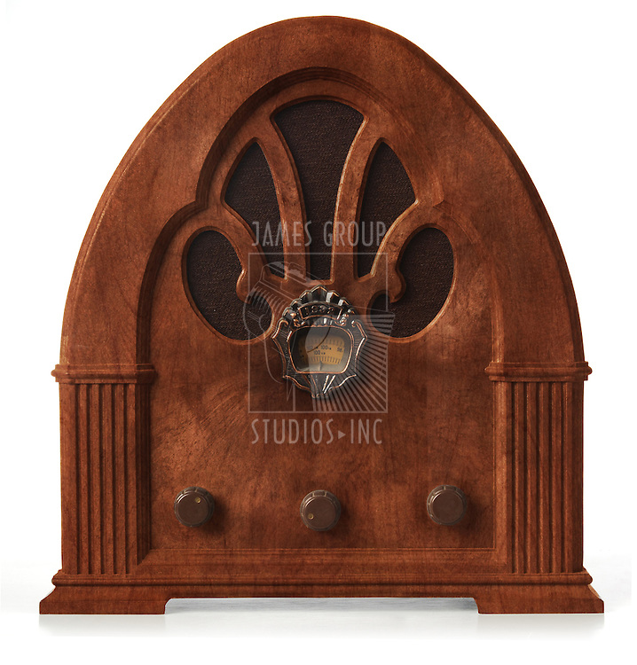 antique gothic radio on white, orthographic view