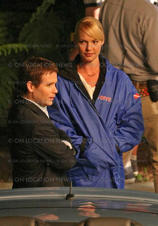 """April 15, 2008 Los Angeles, CA. Non Exclusive Photo. Katherine Heigl and Kevin Connolly rehearse a funny scene for 'The Ugly Truth"""". In the scene, Kevin Connolly drives his car away not knowing that Katherine Heigl's dress was accidentally closed in his car door which completely pulls off her dress leaving her exposed in her bra and panties ( not photographed ). Crew did much work to block the scene for her privacy. Eric Ford / On Location News 818-613-3955 info@onlocationnews"""