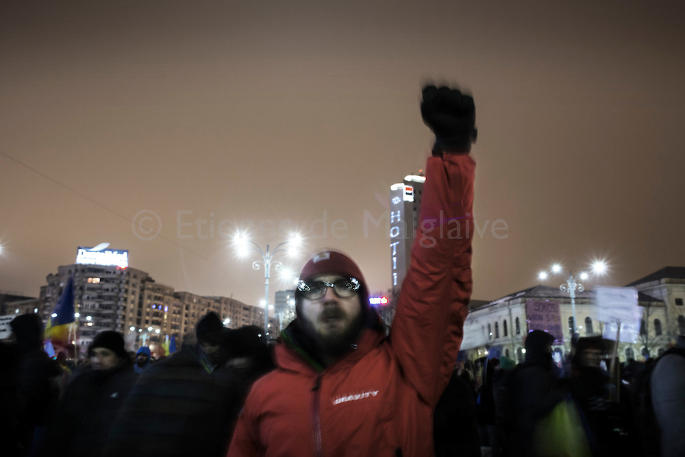 Protesters gathered in Bucharest Victory Square are now demanding resignation of PM Sorin Grindeanu. 11 February 2017.