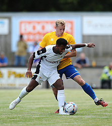 Bristol Rovers' Danny Greenslade battles for the ball with Salisbury's Claudio Herbert  - Photo mandatory by-line: Joe Meredith/JMP - Mobile: 07966 386802 - 11/07/2015 - SPORT - Football - Salisbury - Raymond McEnhill Stadium - Pre-Season Friendly
