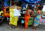 Shopping at local vendors near the Queens Staircase in Nassau, The Bahamas.