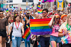Brighton, August 2nd 2014. Thousands of LGBY revellers and their friends throng Brighton's streets for Pride.