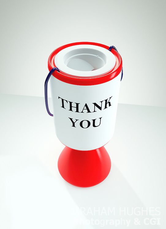 """Red Charity Collection Box with """"Thank You"""" words on label"""