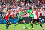 EINDHOVEN - Feyenoord - Southampton FC , Voetbal , Voorbereiding , Oefenwedstrijd , Seizoen 2015/2016 , Stadion de Kuip , 23-07-2015 , Southampton speler Jordy Clasie (2e l) in duel met Speler van Feyenoord Karim El Ahmadi (l) en Speler van Feyenoord Anass Achahbar (r) Southampton speler Victor Wanyama (2e r) komt hem te hulp