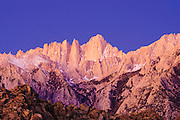 Dawn light on the east face of Mount Whitney, Sequoia National Park, California