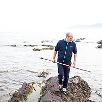 Michelin star chef Paco Perez of Miramar uses the traditional garotor to harvest sea urchin. Llanca, Costa Brava, Spain