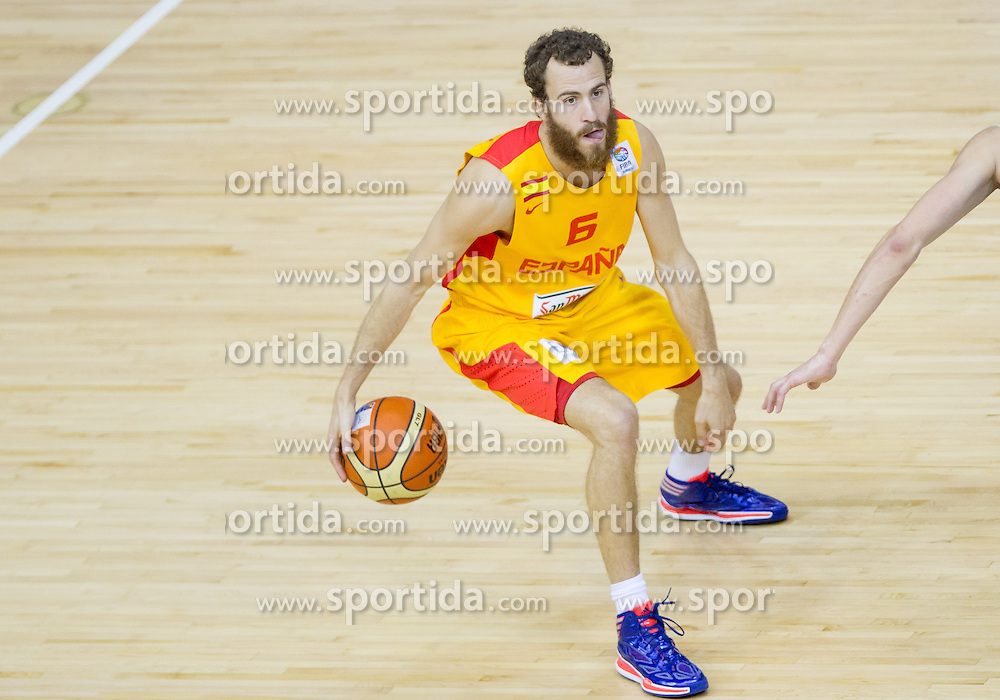 Sergio Rodriguez #6 of Spain during basketball match between National teams of Spain and Czech Republic in Round 1 at Day 4 of Eurobasket 2013 on September 7, 2013 in Arena Zlatorog, Celje, Slovenia. (Photo by Vid Ponikvar / Sportida.com)