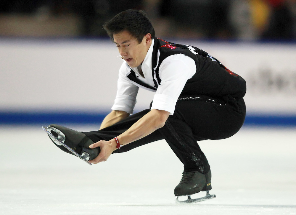20101029 -- Kingston, Ontario --  Patrick Chan of Canada skates his short program at the 2010 Skate Canada International in Kingston, Ontario, Canada, October 29, 2010.<br /> AFP PHOTO/Geoff Robins