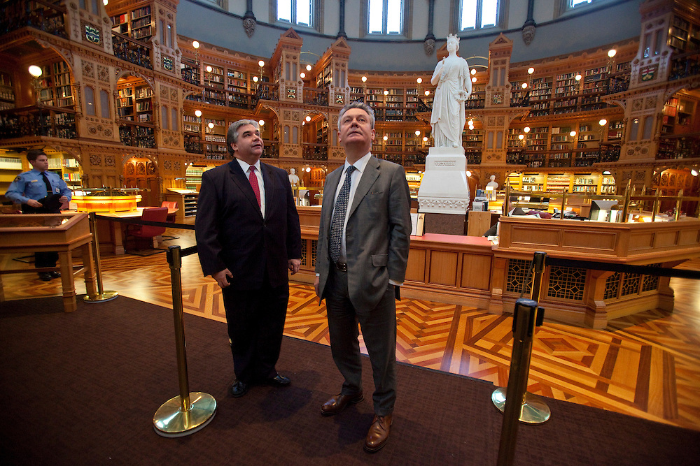 Karel De Gucht, European Commissioner for Trade tours the Library of Parliament on Parliament Hill in Ottawa, Canada with Canada's Minister of International Trade Peter Van Loan December 15, 2010.<br /> AFP/GEOFF ROBINS/STR