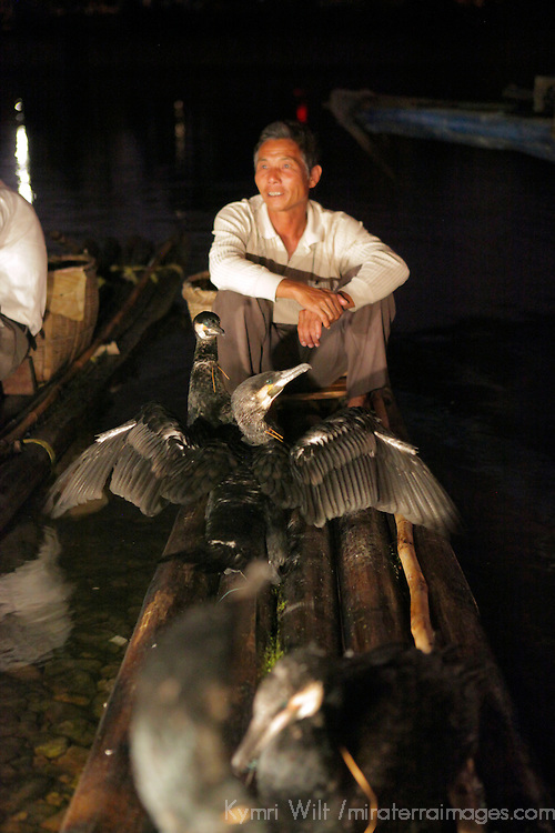 Asia, China, Guilin. A cormorant fisherman rests ashore with his birds.