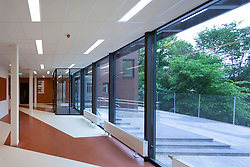 H. Eller music school, college in Tartu, Estonia. Empty corridor. Large windows.