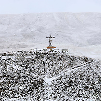 Crucifix on the approach to the Oberalp Pass connecting Uri Canton to Graubunden, shortly before the road's closure for the next seven months.