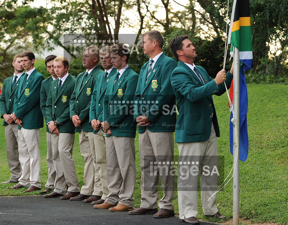 MALELANE, SOUTH AFRICA - Tuesday 17 February 2015, Gerlou Roux of South Africa during the official flag raising ceremony of the annual Leopard Trophy, a two day test between teams of the South African Golf Association and the Scottish Golf Union, at the Leopard Creek Golf Estate.<br /> Photo Roger Sedres/ Image SA