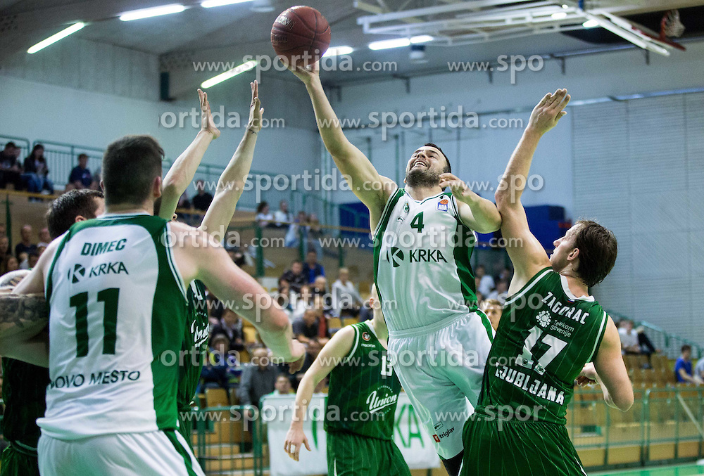 Ive Ivanov #4 of Krka vs Sasa Zagorac #17 of KK Union Olimpija Ljubljana during basketball match between KK Krka and KK Union Olimpija Ljubljana in 5th Round of Nova KBM Champions League 2015/16, on April 13, 2016 in Sports hall Leon Stukel, Novo mesto, Slovenia. Photo by Vid Ponikvar / Sportida