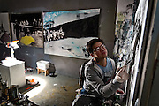Painter Federico Rosa is working on a piece at his studio at Aterlier Frankfurt.<br /> <br /> &copy;peter-juelich.com