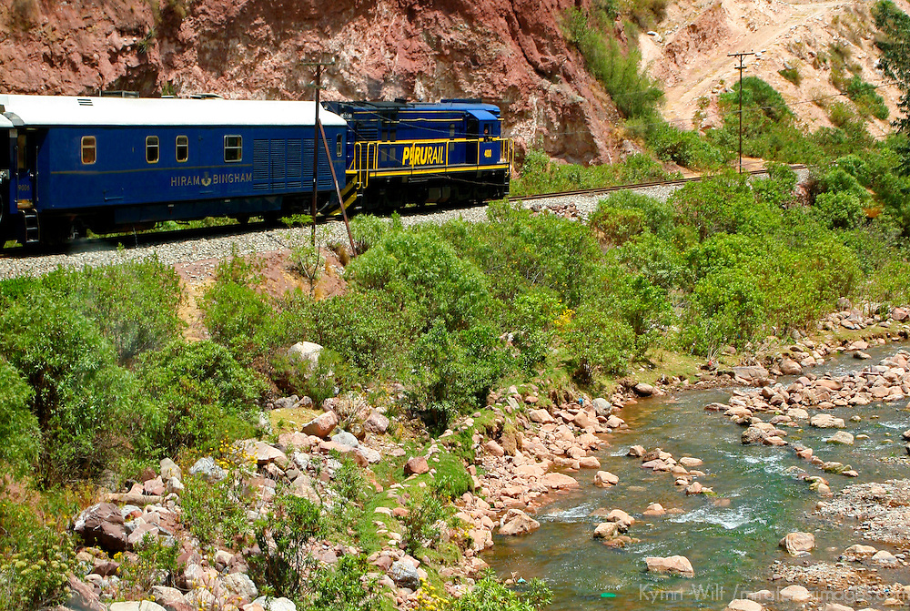 South America, Peru. Hiram Bingham luxury train to Machu Picchu.