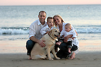 30 November 2009:  Jean-Sebastien, Kristen, Max and Luka Giguere at the beach for a family photo session at sunset.    Personal family use only.