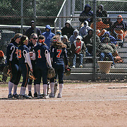 Delmar Wildcats Infielders huddle together during a varsity scheduled game between Caravel Academy and The Delmar Wildcats Saturday, April 4, 2015, at Caravel Athletic Field in Bear Delaware.