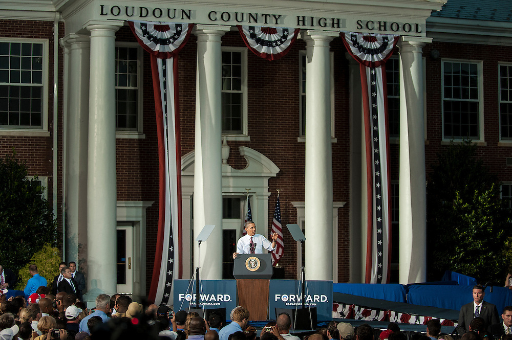 President BARACK OBAMA speaks at a campaign event at Loudoun County High School in Leesburg, Va, on Thursday.