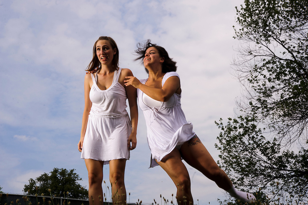 """(Photo by Matt Roth).Sunday, June 19, 2011..Adriana Saldaña, Melissa Talleda..Photo shoot for The Collective's """"aLIVE"""" show held on the Bryn Mawr School campus Sunday, June 19, 2011.."""
