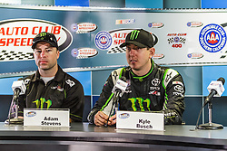 Fontana, CA/USA (Saturday, March 23, 2013) - NASCAR Nationwide Series car driver Kyle Busch fields questions for the press at victory lane after winning the 2013 Royal Purple 300 at the Auto Club Speedway in Fontana, CA. PHOTO © Eduardo E. Silva/SILVEX.PHOTOSHELTER.COM.
