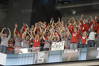 Ohio State students cheer in the first half of the Big Ten Tournament semifinals in Indianapolis, on March, 11, 2011, at Conseco Fieldhouse. Ohio State defeated Michigan 68-61.