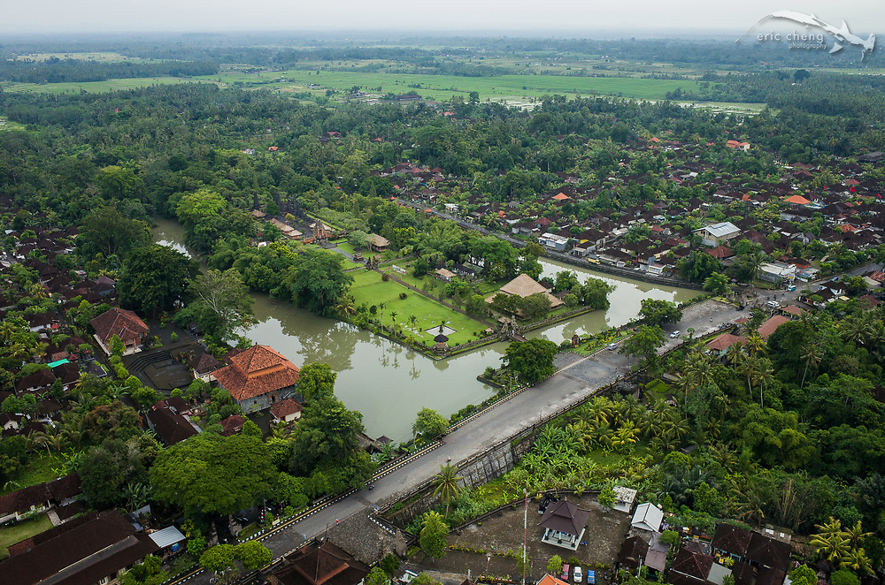 Aerial view of Taman Ayun Temple in Mengwi Village, Bali, Indonesia.