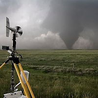 A Texas Tech Sticknet probe samples the inflow winds of a tornado in Goshen County, Wyoming, June 20, 2009.