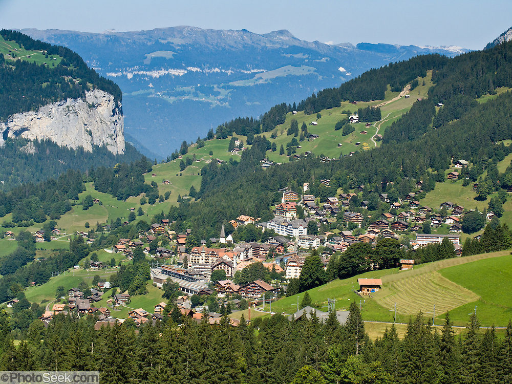 "Wengen village is ideally placed for sightseeing in Lauterbrunnen Valley in the Berner Oberland, Switzerland, the Alps, Europe. The Bernese Highlands are the upper part of Bern Canton. The world's longest continuous rack and pinion railway (Wengernalpbahn) goes from Grindelwald up to Kleine Scheidegg and down to Wengen and Lauterbrunnen. A gondola (gondelbahn) connects Grindelwald with Männlichen, where a cable car goes down to Wengen (Luftseilbahn Wengen-Mannlichen). UNESCO lists ""Swiss Alps Jungfrau-Aletsch"" as a World Heritage Area (2001, 2007)."