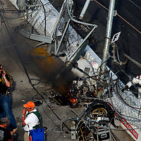 Feb 23, 2013; Daytona Beach, FL, USA; The engine and tire of NASCAR Nationwide Series driver Kyle Larson sits inside the fence of the tri-oval during the DRIVE4COPD 300 at Daytona International Speedway.