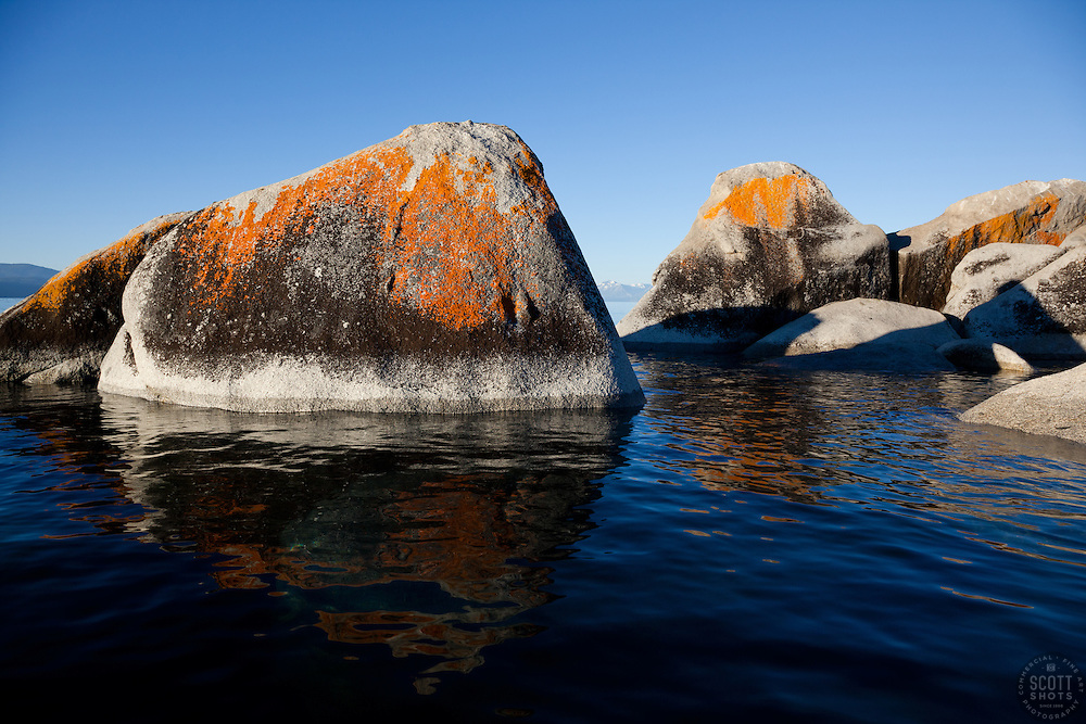 """""""Boulders on Lake Tahoe 20"""" - These orange, black, and grey boulders were photographed in the early morning near Speedboat Beach, Lake Tahoe."""