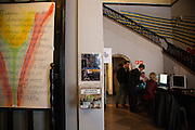 "Ukrainski Swiat (Ukrainian World) museum and community center. A donation box reading ""raise funds for refugees""."