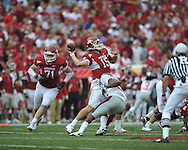Arkansas quarterback Ryan Mallett (15) passes at Reynolds Razorback Stadium in Fayetteville, Ark. on Saturday, October 23, 2010.
