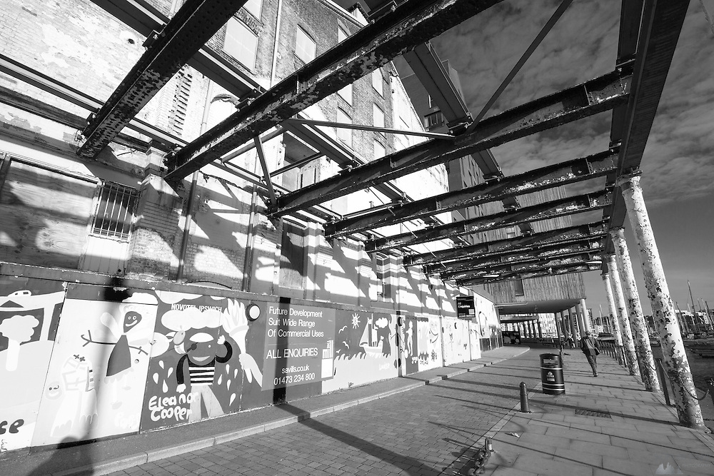 B&W shots of derelict or abandoned buildings in Ipswich Harbour.
