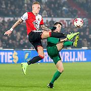 ROTTERDAM - Feyenoord - FC Groningen , Voetbal , Eredivisie , Seizoen 2016/2017 , Feijenoord stadion de Kuip , 11-02-2017 ,  eindstand 2-0 , Feyenoord speler Rick Karsdorp (l) in duel met FC Groningen speler Oussama Idrissi (r)