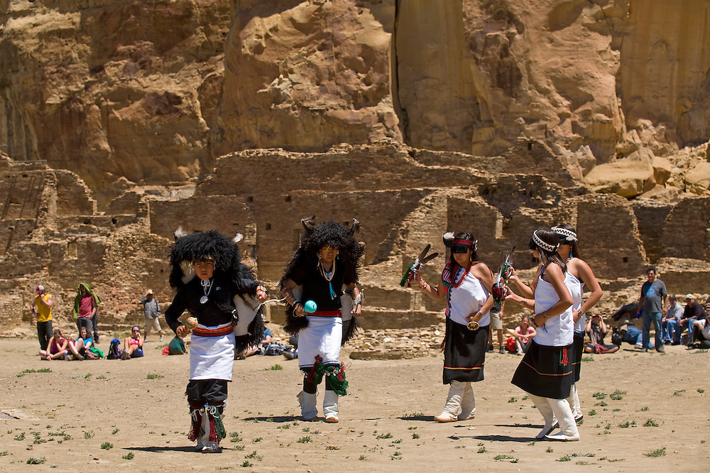 062111     Brian Leddy.Laguna Youth Group Dancers (from left) Stephen Ruben, Jonathan Martinez, Jessica Atsye, Teya Ruben and Alyssa Ruben perform at Pueblo Bonito in the Chaco Canyon National Historic Park on Tuesday at part of the summer solstice celebration.