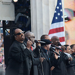 Stevie Wonder performs at the Democratic National Convention on Thursday, August 28, 2008 at Invesco Stadium, Denver, Colorado.