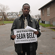 Mourner Stefan Johnson, 32, leaves the wake of Sean Bell, 23, (depicted on McPherson's jacket) who was killed in a hail of 50 bullets by New York City police officers, at the Community Church of Christ in Queens, New York on December 1, 2006. Bell was killed in the early morning of November 25, 2006 leaving his bachelor party at Club Kalua in Queens, just hours before he as scheduled to marry in the church where his funeral was held.<br /> <br /> Johnson, who did not know Bell but came to show his respects, said he has been studying to become a police officer. &quot;Every few months or years this happens to someone else,&quot; he said of the shooting.<br /> <br /> photo by Angela Jimenez for The New York Times<br /> photographer contact 917-586-0916