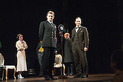26/03/2012. London, UK. Playful Productions and Michael Alden present the stage production of The Kings Speech, by David Seidler, at Wyndhams Theatre, London.Picture shows: Emma Fielding as Queen Elizabeth, Charles Edwards as Bertie (King George VI) Jonathan Hyde as Lionel. Photo credit : Tony Nandi