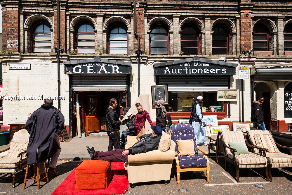 Exterior of second hand furniture shop at Barras Market in Gallowgate Glasgow, United Kingdom