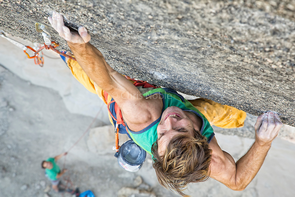 "Chris Sharma climbing his route ""Bon Combat"" 9b/b+ (15b/c) at Cova de Ocell near Barcelona Spain"