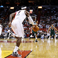 22 January 2012: Miami Heat small forward LeBron James (6) brings the ball up court during the Milwaukee Bucks 91-82 victory over the Miami Heat at the AmericanAirlines Arena, Miami, Florida, USA.