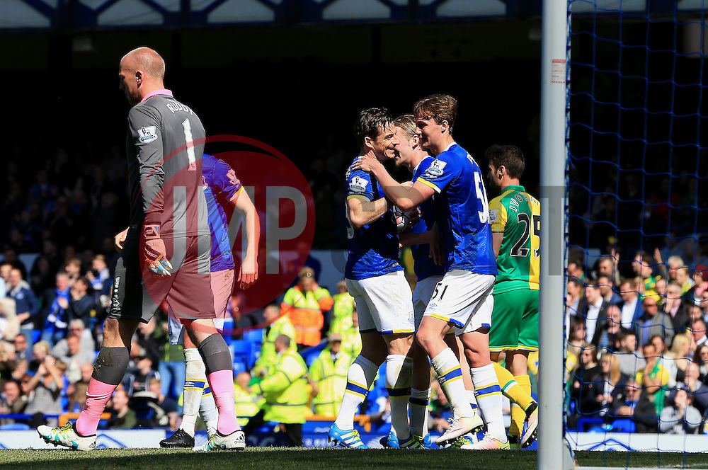 Everton's Leighton Baines celebrates after scoring his sides second goal  - Mandatory byline: Matt McNulty/JMP - 15/05/2016 - FOOTBALL - Goodison Park - Liverpool, England - Everton v Norwich City - Barclays Premier League