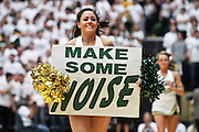 SHOT 1/28/12 3:22:55 PM - A Colorado State University cheerleader performs during a break in the action against San Diego State during the team's regular season Mountain West conference game at Moby Arena in Fort Collins, Co. Colorado State upset 12th ranked San Diego State 77-60. (Photo by Marc Piscotty / © 2012)