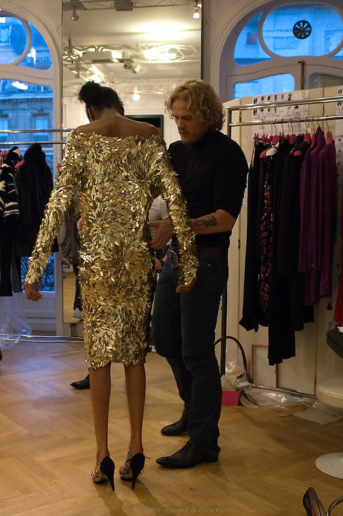designer Peter Dundas, on the last day before Ungaro fashion show during the ultimate fittings